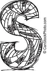 dibujado, resumen, s, carta, mano