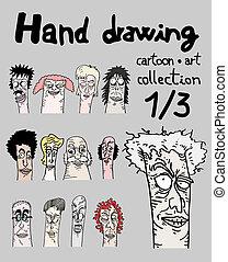 Dibujando caras una de tres
