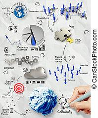 Dibujando estrategias creativas de negocios en el fondo de papel como concepto