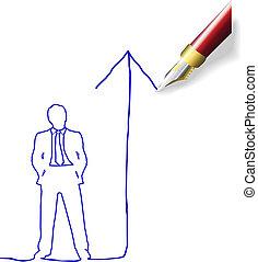 Dibujando un futuro plan de éxito para el hombre