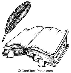 Dibujando un libro abierto con plumas