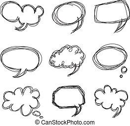 Dibujar a mano burbujas de dibujos animados