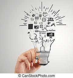 Dibujar a mano estrategia creativa de negocios con bombilla como concepto