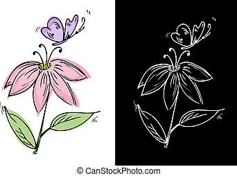 Dibujar una flor con una mariposa
