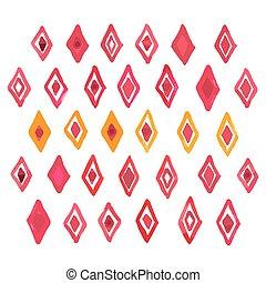 Dibujo a mano acuarela arte acuarela pintura roja rhombus geométrica ilustración del vector