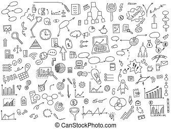 Dibujo a mano elementos de garabatos dinero y icono de monedas, gráfico gráfico. Concepto los análisis de finanzas de negocios. Ilustración de vectores