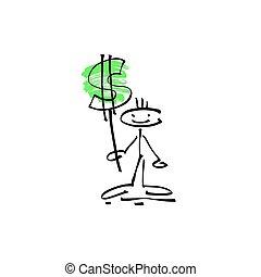 Dibujo a mano figura humana sonrisa palo con signo de dólar