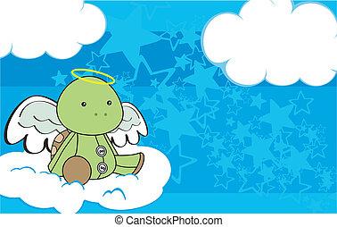 Dibujo animado del ángel de la tortuga en el espacio 3