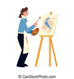 dibujo, brocha, imagen, artístico, paleta, delantal, uso, color, hembra