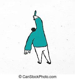 dibujo, caricatura, icono, vector, hombre, verde