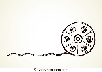dibujo, carrete de película, vector, símbolo.