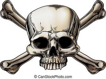 dibujo, crossbones de cráneo