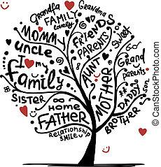Dibujo de árbol familiar para tu diseño