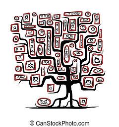 Dibujo de árbol genealógico con retratos para tu diseño
