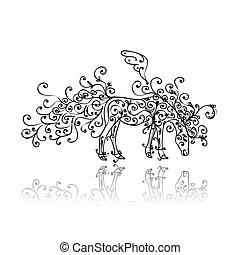 Dibujo de caballo con adornos florales
