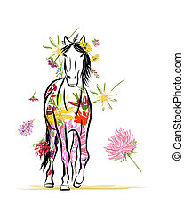 Dibujo de caballo con adornos florales para tu diseño. Simbolo del año 2014