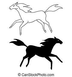 Dibujo de caballo y silueta