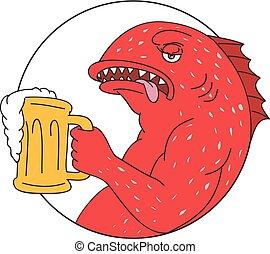 Dibujo de cerveza de trucha coral