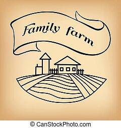 Dibujo de granja en beige