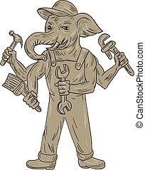 Dibujo de herramientas Ganesha