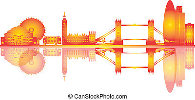 Dibujo de ilustración en el horizonte de Londres