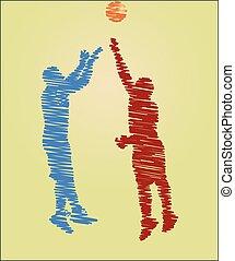 Dibujo de jugadores de baloncesto