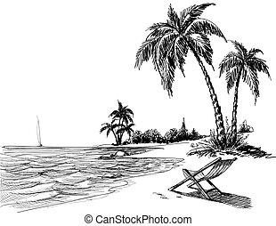Dibujo de lápices de Summer Beach