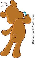 Dibujo de oso de peluche en la pared