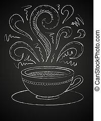 Dibujo de taza de café en la pizarra