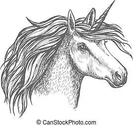 Dibujo del unicornio mítico vector del caballo