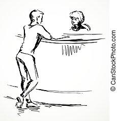 dibujo, desk., vector, persona, recepción