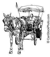 Dibujo en blanco y negro de conductor de caballos