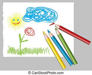 Dibujo infantil y lápices de colores