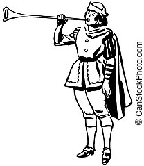 dibujo, juego, renacimiento, versión, negro, era, blanco, cuerno, trompeta, o, hombre