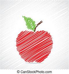 Dibujo rojo diseño de manzana