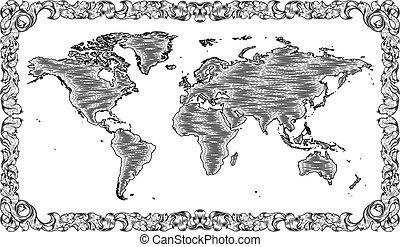 dibujo, woodcut, mapa del mundo, estilo, grabado, viejo