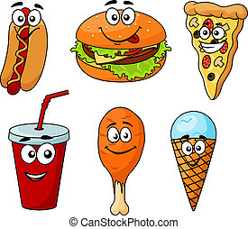 Dibujos animados coloridos de iconos de comida rápida