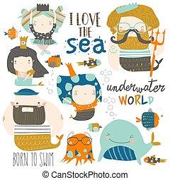 Dibujos animados con sirenas. Bajo el mar