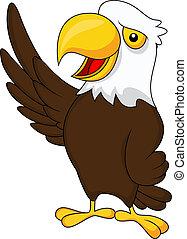 Dibujos animados de águila ondeando