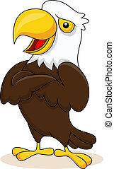 Dibujos animados de águila posando