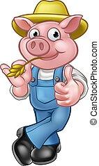 Dibujos animados de cerdos granjeros