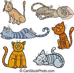 Dibujos animados de gatos felices y dormidos