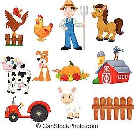 Dibujos animados de granja con agricultores, tractores, graneros, animales, frutas y verduras