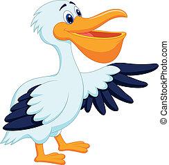 Dibujos animados de pájaros pelícanos ondeando