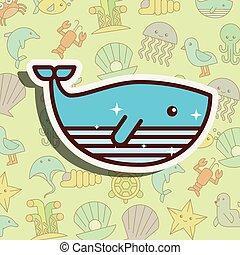 Dibujos animados de vida marina ballena