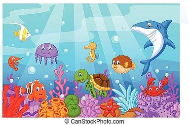 Dibujos animados de vida marina con colectiles de peces