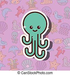 Dibujos animados de vida marina de Pulpo