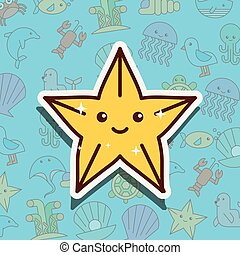 Dibujos animados de vida marina de Starfish