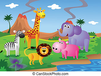 Dibujos animados en la naturaleza
