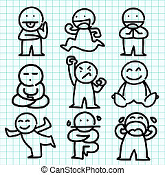 Dibujos animados en papel de gráfico azul.